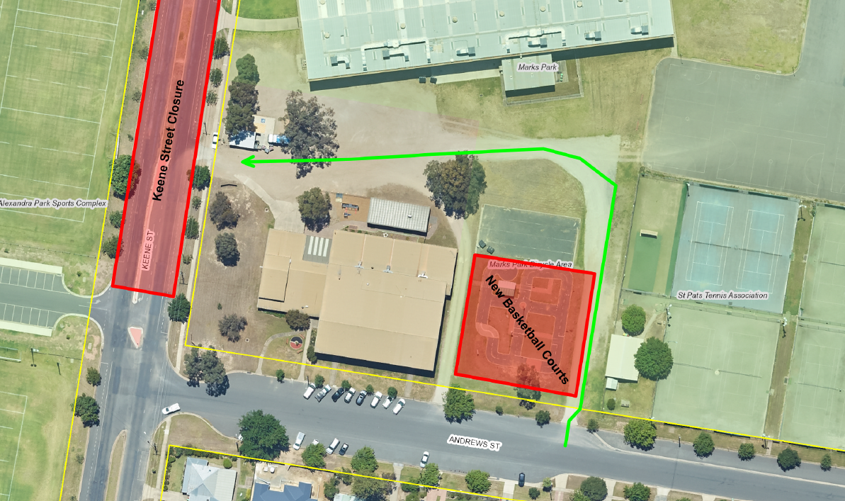 Aerial image showing the alternate access route via the Andrews Street driveway