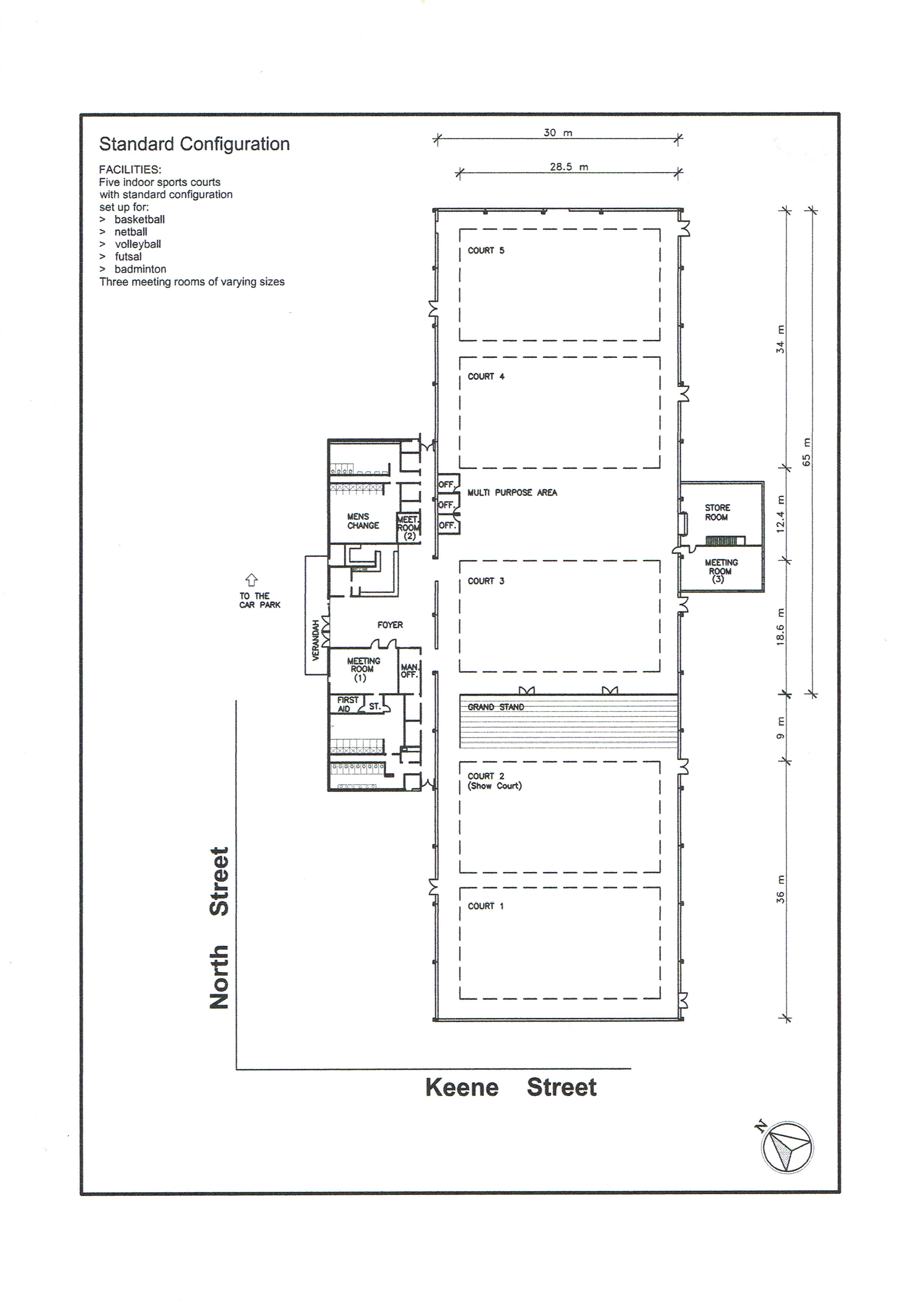 floor plan of the sports centre