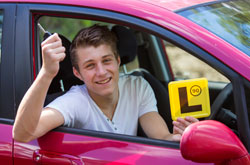 Young driver displaying L Plate