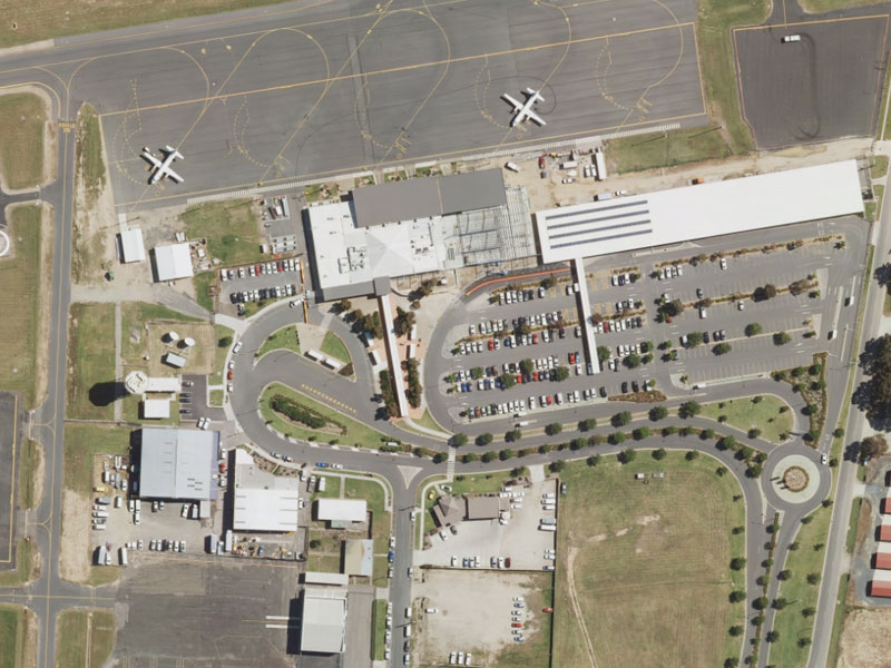 Aerial view of the airport precinct