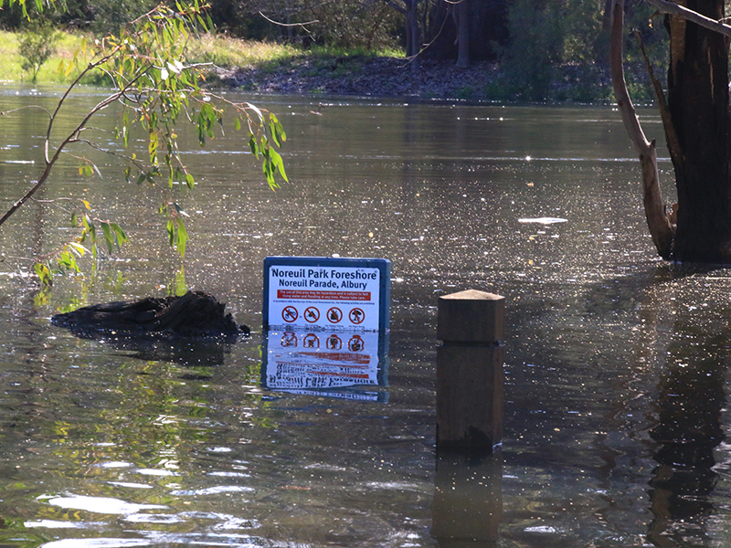 Noreuil Park has been temporarily closed because of high river levels