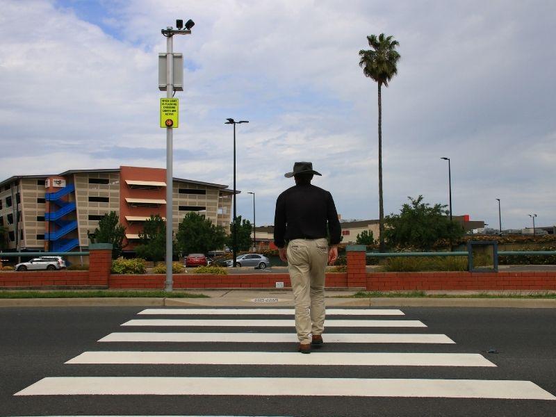 Lights alert drivers as pedestrians cross