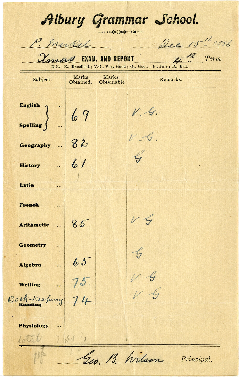 An exam and report slip for Phyllis Merkel at Albury Grammar School 4th Term 15 December 1926. It is a slip of paper with printed and pencilled text on one side. ARM 11.877.