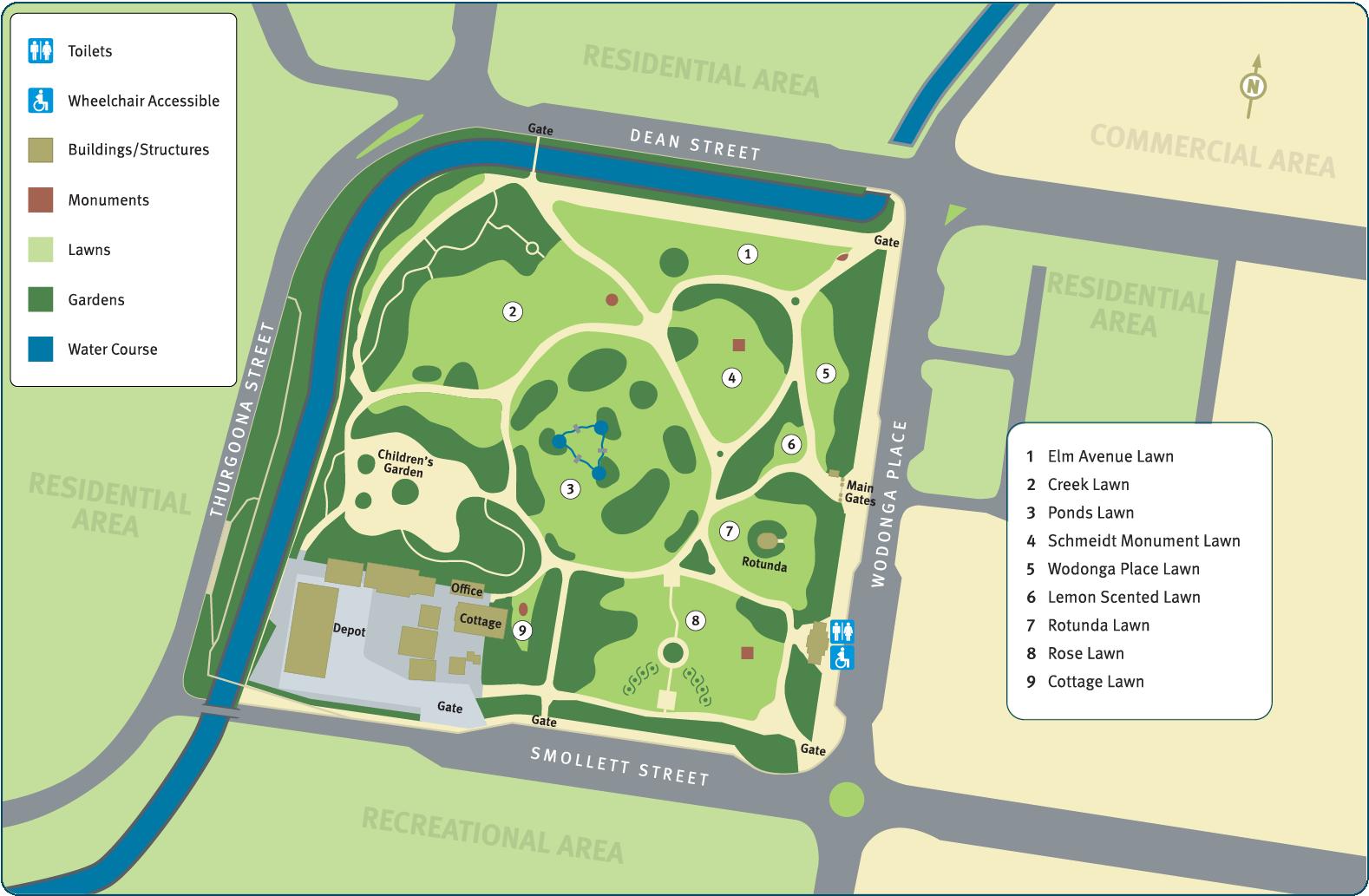 Albury botanic gardens Map